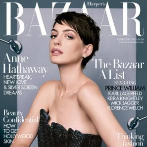 Anne Hathaway on the February Harper Bazaar issue