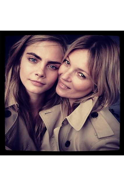 Cara delevigne kate Moss for Burberry