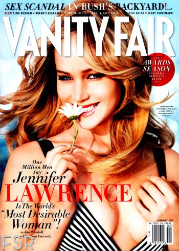 Cover Jennifer Lawrence by Ellen von Unwerth for Vanity Fair US February 2013
