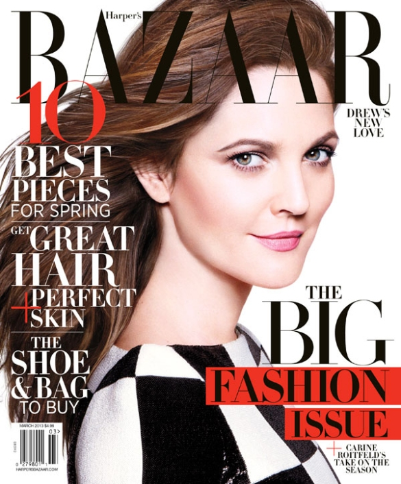 Drew Barrymore Harper Bazaar March cover