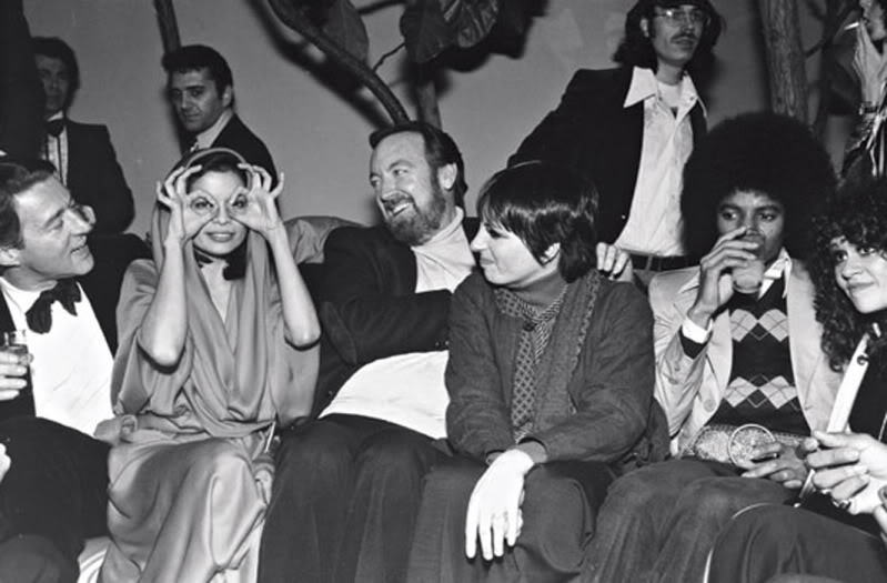 Halston, Bianca Jagger, Jack Haley Jr., Liza Minnelli, and Michael Jackson at Studio 54, 1978