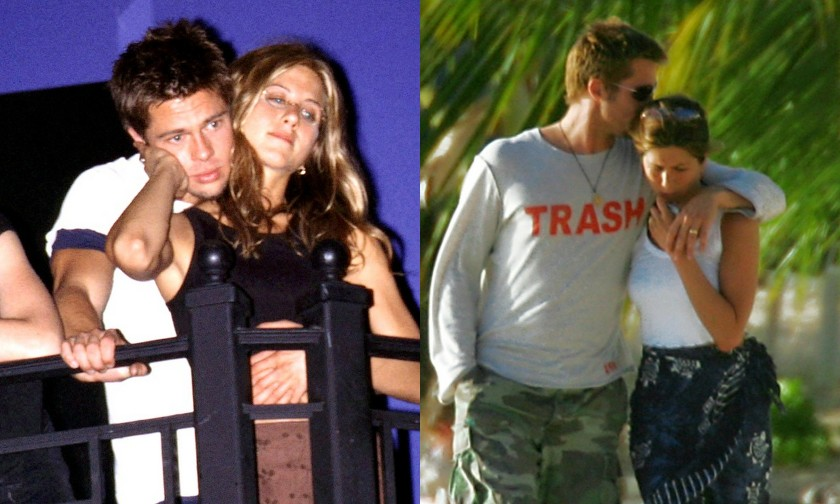 Jennifer Aniston and Brad Pitt. Old days.  Anguilla, 2005. Kissing goodbye