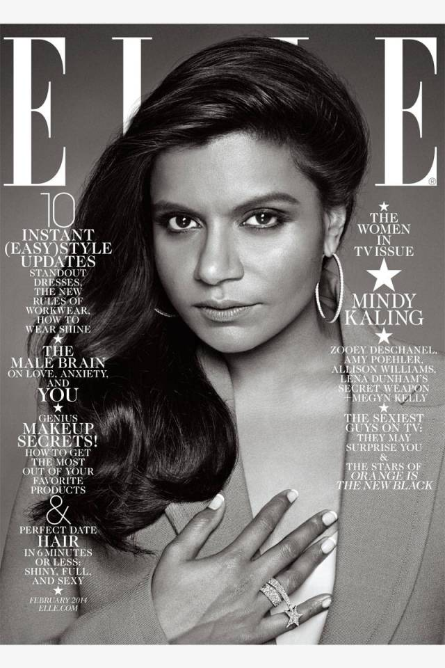 Mindy Kaling covers Elle US February 2014