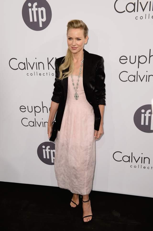 Naomi Watts Pale Pink Dress Black Jacket Calvin Klein Celebrate