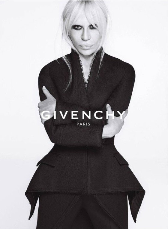 Donatella Versace is captured by Mert & Marcus for Givenchy Fall Winter 2015 2016 Ad Campaign. Styled by Carine Roitfeld.