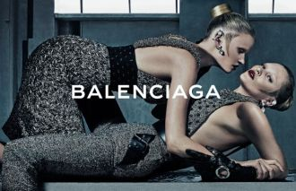 Lara Stone and Kate Moss in Balenciaga's fall 2015 campaign