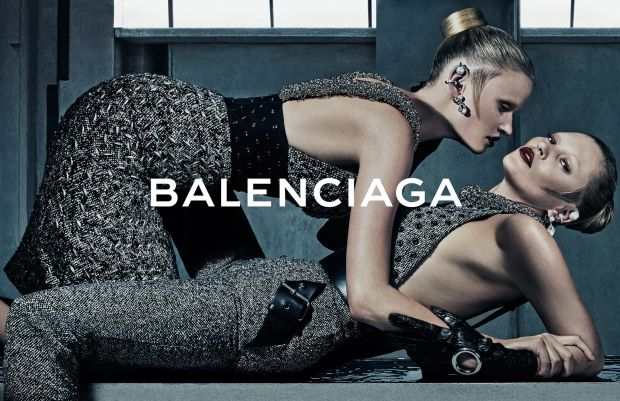 Lara Stone and Kate Moss in Balenciaga's fall 2015 campaign